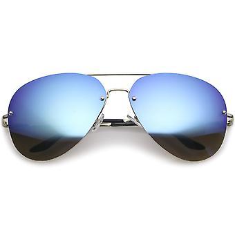 Oversize Rimless Aviator Sunglasses Teardrop Mirrored Lens Metal Slim Arms 65mm