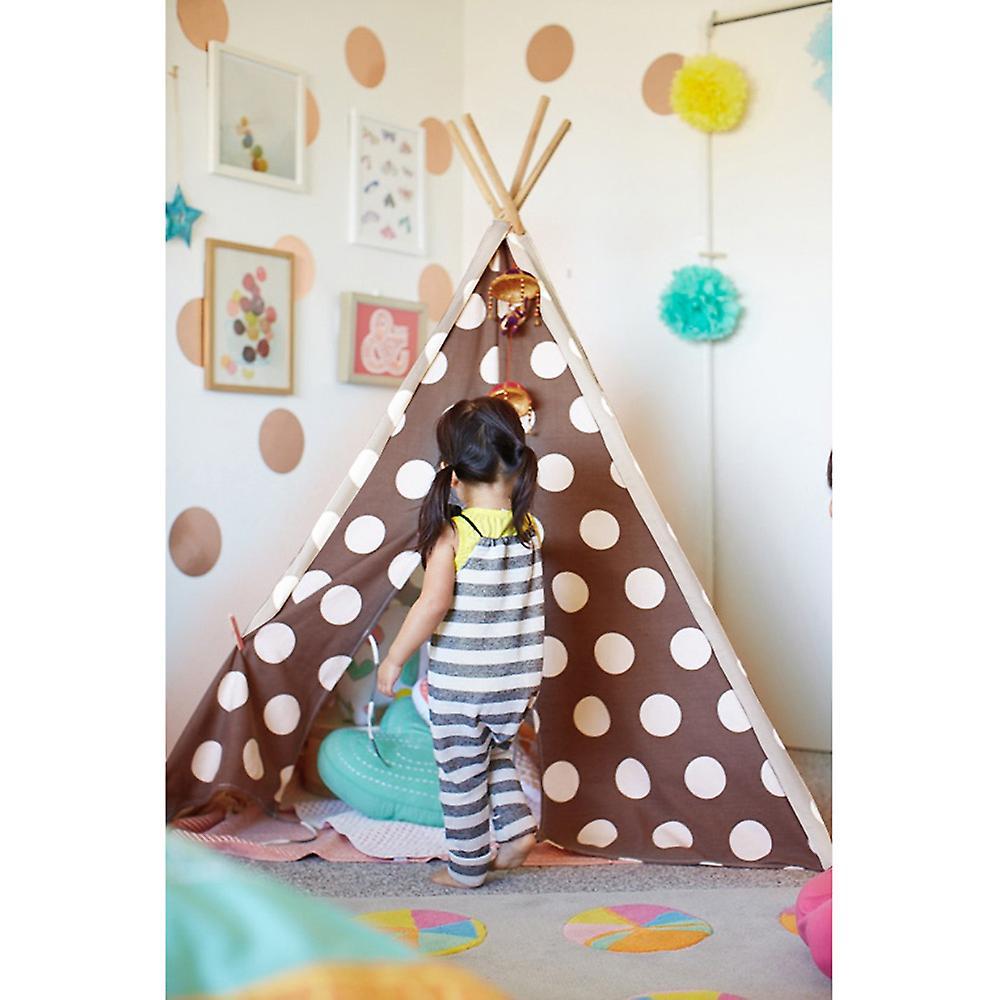 Tela Tepee casa moderna bambini Set con custodia da viaggio - marrone/bianco pois