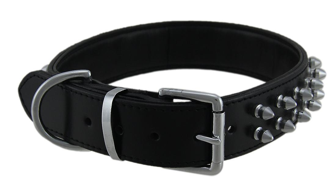 PetMate Black Leather Dog Collar With Chrome Spikes 24 Inches Long