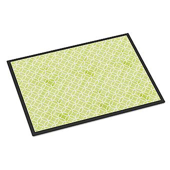 Gemoetric Circles on Green Watercolor Indoor or Outdoor Mat 18x27