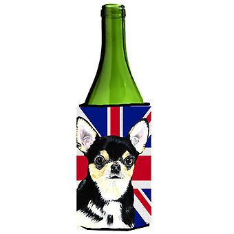 Chihuahua con inglese Union Jack bandiera britannica bottiglia di vino bevanda isolante Hu