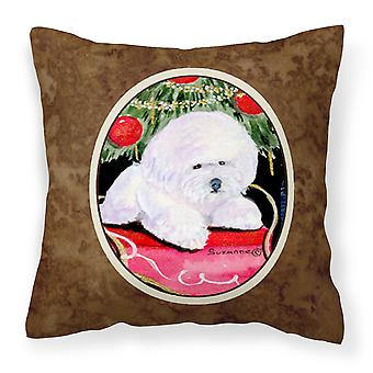 Christmas Tree with  Bichon Frise Decorative   Canvas Fabric Pillow