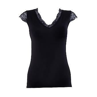 BlackSpade Comfort Black Modal Lace V-Neck Top 1348