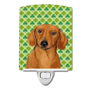 Dachshund St. Patrick's Day Shamrock Portrait Ceramic Night Light