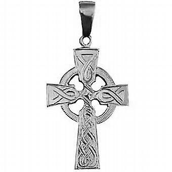 Srebrny 35x24mm ręcznie grawerowane węzeł wzór celtycki krzyż z kaucją