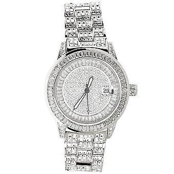 Wysokiej jakości zegarek pełnej ICED OUT CZ - ROYAL silver