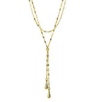 "14k Yellow Gold Lariet Teardrop Mariner Necklace, 17"""
