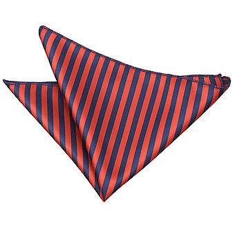 Marineblå & rød tynd stribe Pocket Square