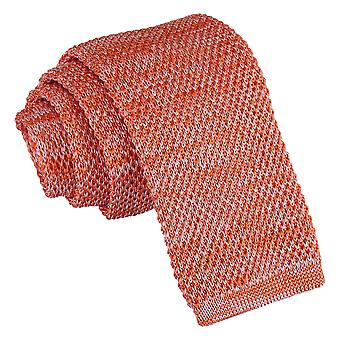 Orange Melange Plain Speckled Knitted Skinny Tie