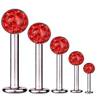 Bar di Labret trago Piercing titanio 1,6 mm, Multi sfera di cristallo rosso | 5 - 16 mm