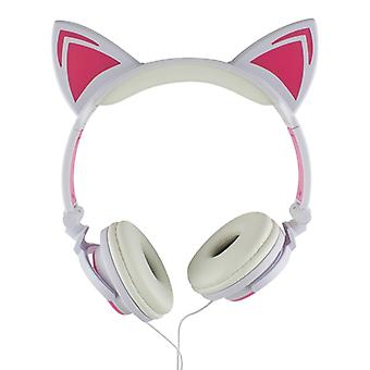 LED headphones with cat ears-white and pink