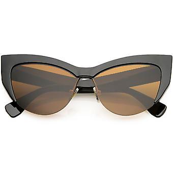 شبه كبيرة الحجم مؤطرة القط العين نظارات محايدة المرأة لون العدسة 56 ملم