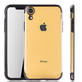 Cell phone case for Apple iPhone XR black - clear - TPU silicone case back cover protective cover in transparent / shiny edge black
