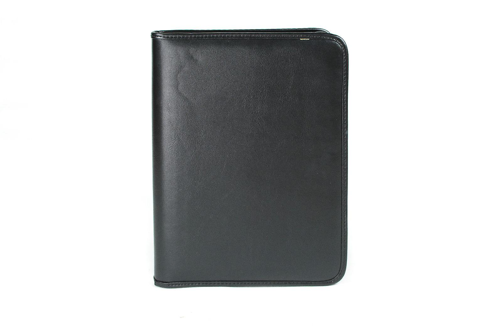 A4 Conference Folder Zipped Folio Case Pu Leather Business Organiser Ring Binder