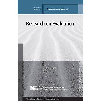 Research on Evaluation - New Directions for Evaluation - Number 148 by