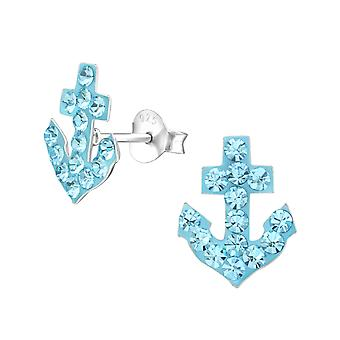 Anchor - 925 Sterling Silver Crystal Ear Studs - W16789x