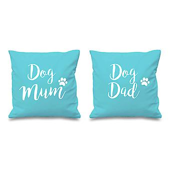 Dog Mum Dog Dad Aqua Cushion Covers 16