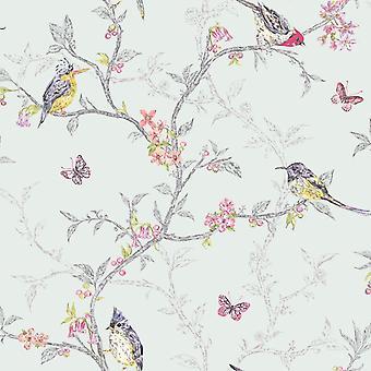 Árvores de pássaros coloridos azul-petróleo macio Holden Decor Floral borboleta papel de parede