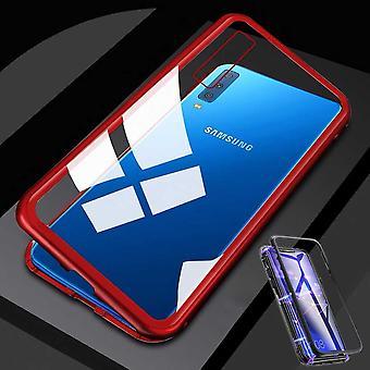 Pour le Samsung Galaxy M20 6,3 pouces magnétique métal / verre affaire pare-chocs transparent / rouge housse étui nouveau