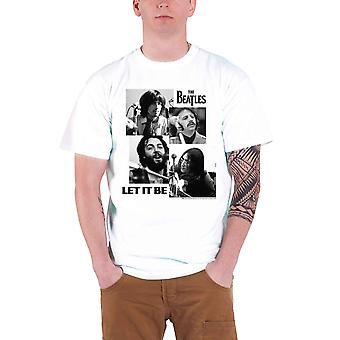 Beatles T Shirt låt det vara Album Stencil bandet logotyp officiella Mens vit