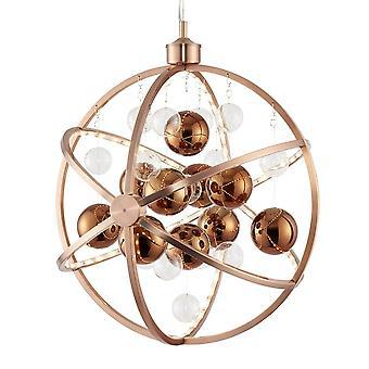 Endon Beleuchtung Muni 10w LED klar und Kupfer Glas Kugel Pendelleuchte