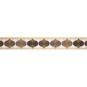 K2 papel tapiz geométrico borde adorno retro chocolate marrón crema Peel Stick