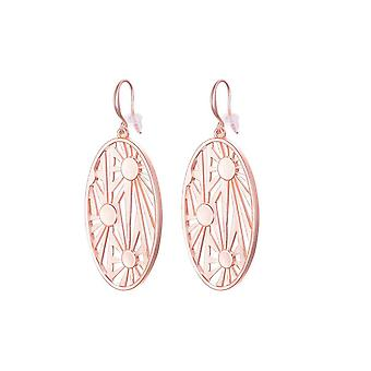 Fable Womens/Ladies Oval Cutwork Dangle Earrings