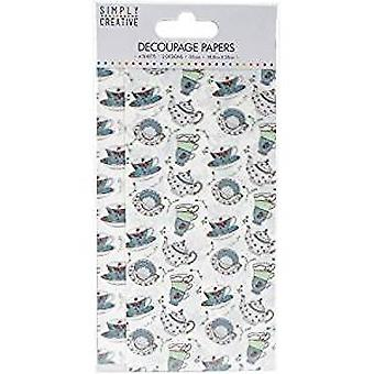 Simply Creative Decoupage Paper 18.8cmX35cm 4/Pkg-Tea Cups