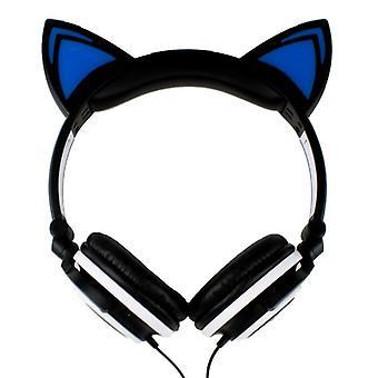 Cuffie a LED con orecchie di gatto-nero e bianco