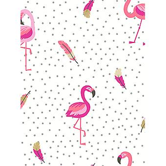 Be Dazzled Flamazing Flamingo Wallpaper Pink / White Coloroll M1424