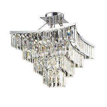 Diyas Gianni semi plafond 5 licht gepolijst chroom/kristal