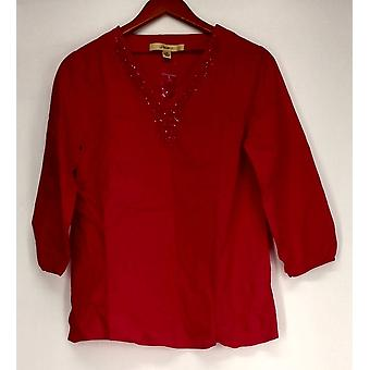 Motto 3/4 Sleeve Tunic w/ Embellished Neckline Fuchsia Pink Top