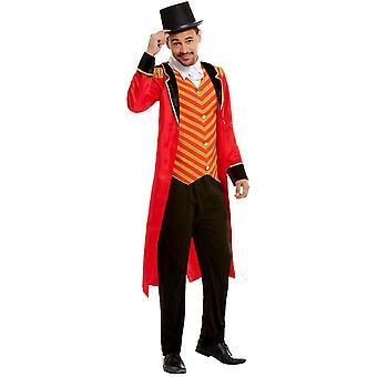 Circus directeur kostuum mannen rood met jas broek en pseudo shirt Ringmaster mannen kostuum