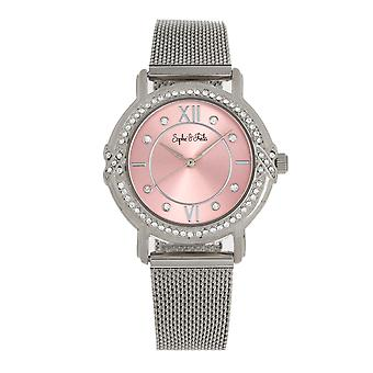 Sophie and Freda Reno Bracelet Watch w/Swarovski Crystals - Silver/Light Pink