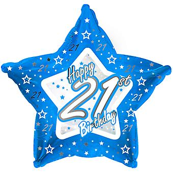 Creative Party Happy 21st Birthday Blue Star Balloon