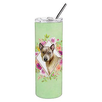 Thai Ridgeback grüne Blumen Doppel wandbemauert Edelstahl 20 oz Skinny Tumbler