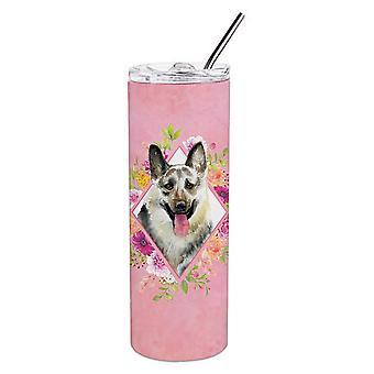 Itä-Saksan paimen koira vaaleanpunainen kukat kaksinkertainen aidattu ruostumaton teräs 20 oz laiha
