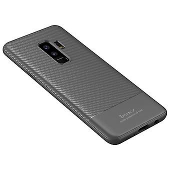 iPaky Rubber Shell Samsung S9 + in carbon fiber design-grey