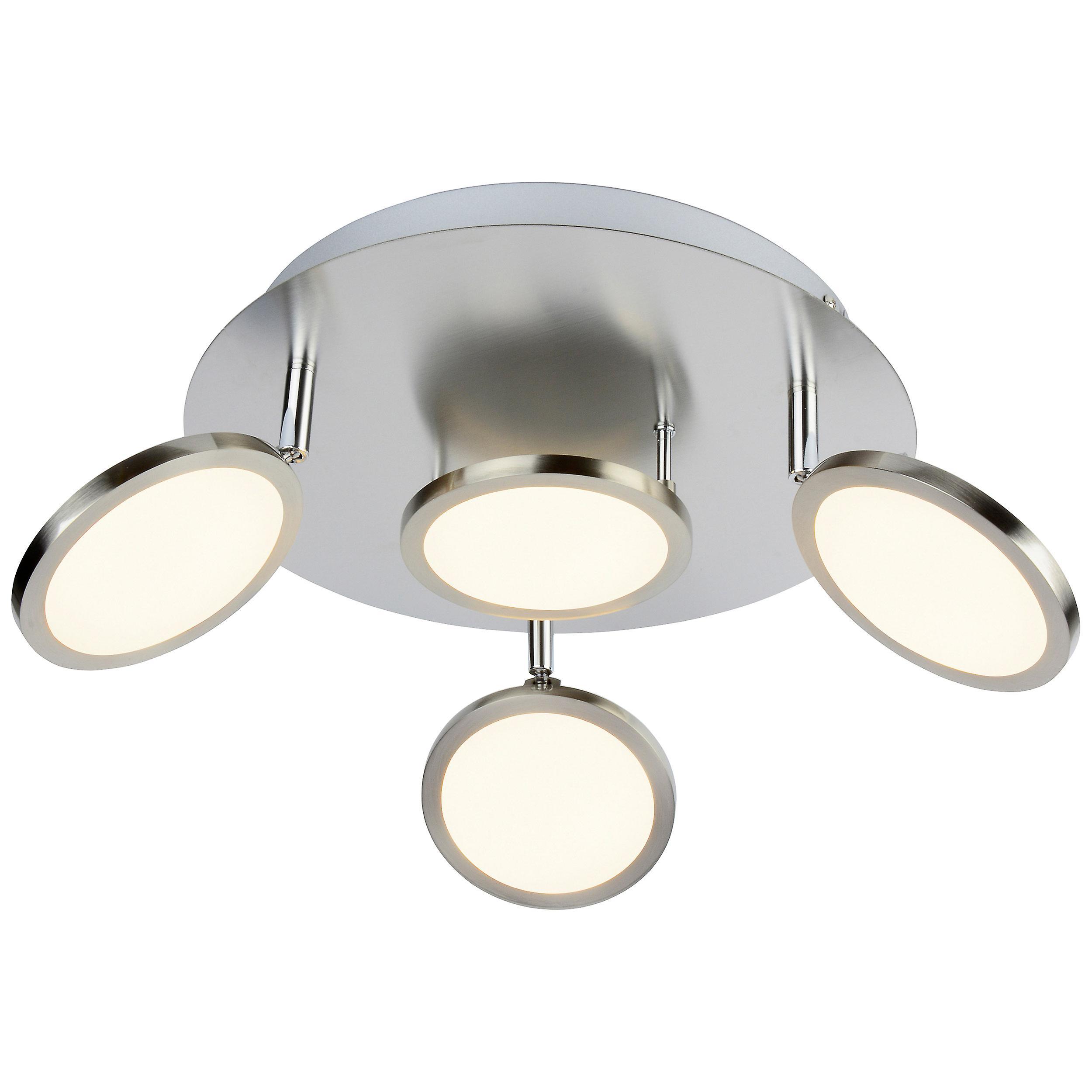 BRILLIANT Lampe HARLIE LED Spotrondell 4flg nickel matt I Köpfe schwenkbar I Energiesparend und langlebig durch LED-Einsatz