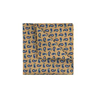 Loch Hart Mens Yellow con Blue Paisley Print Pocket Square