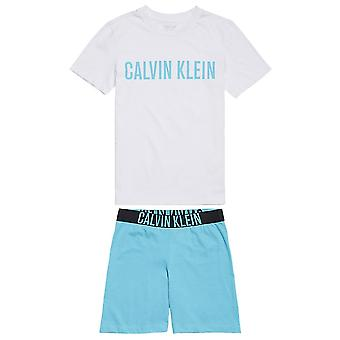 Calvin Klein Boys Intense poder PJ set, branco/azul pavão, idade 8-10