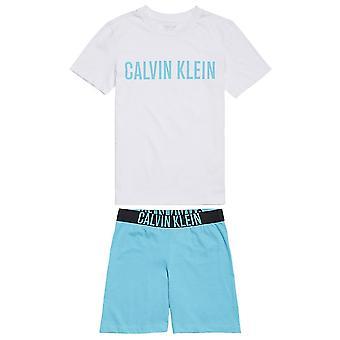 Calvin Klein Boys Intense Power PJ Set, White / Peacock Blue, Age 8-10