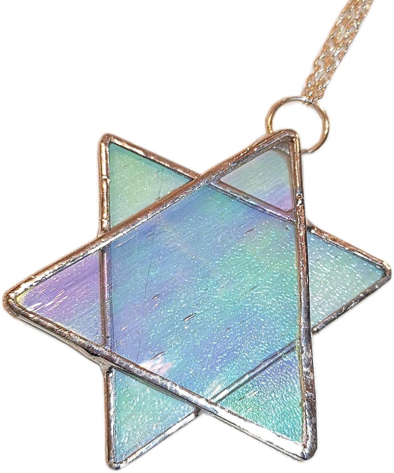 Simmerdim Design Stained Glass Star Window Hanger Irredescent