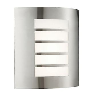 Saxby Lighting Bianco Led Integrated LED PIR 1 Light Outdoor Wall Light Brushed Stainless Steel, Opal Polypropylene IP44 75930