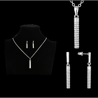 Crystal cylinder drop necklace & earrings set