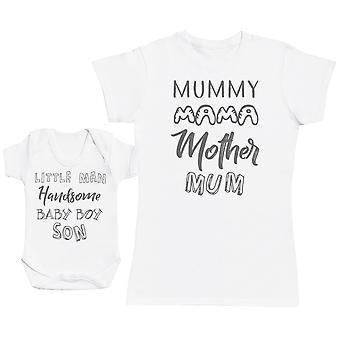 Baby Boy & Mummy Wording Baby Gift Set Womens T Shirt & Baby Bodysuit