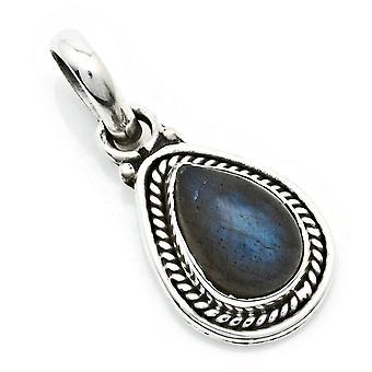 Amuleto de caneta de corrente prata 925 Pedra labradorita de prata esterlina (Nr: MAH 147-05)