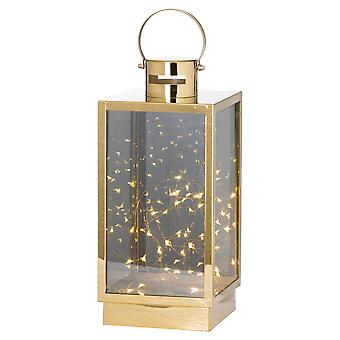 Hill Interiors Brass Lantern With Led Micro Lights