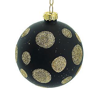 IMPERFECT - 8cm schwarz mit Gold Glitter Dots Glas Weihnachtsbaum Bauble