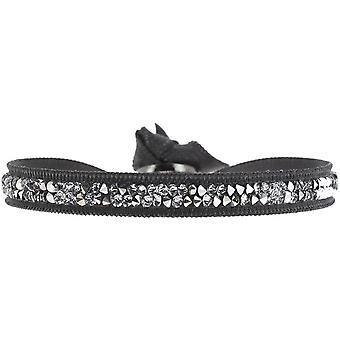 Armband verwisselbaar A24956 - stof grijs vrouw Swarovski kristallen armband